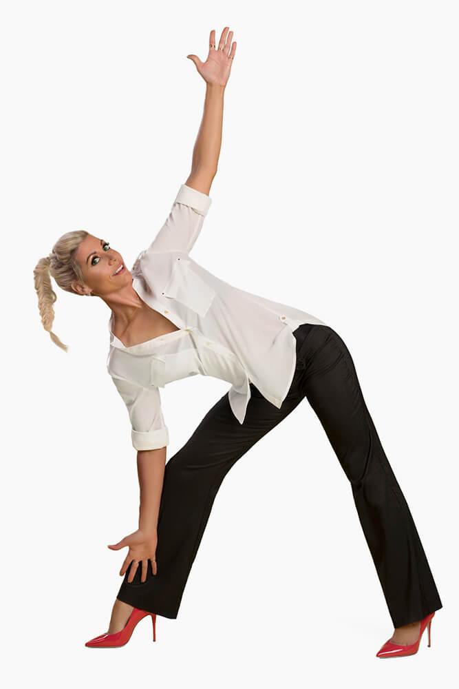 sam parker side yoga pose in pant suit outfit 1